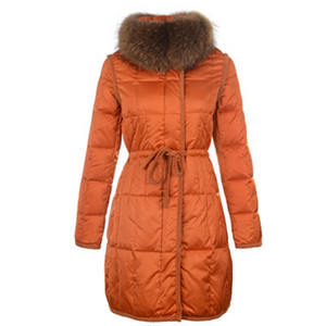 Womens Moncler Lange Down jas bontkraag Orange DG8237 [c1b3]