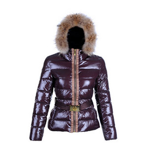 Moncler Angers Fur Hood Quilted Dames Jassen Brown DG3396 [d5d4]
