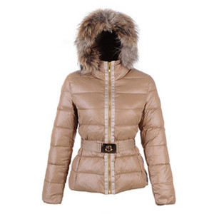 Moncler Angers Fur Hood Quilted Dames Jassen Brown DG6277 [99f9]