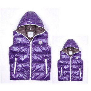 Womens Moncler Down Vesten Zip Hooded Style Purple DG7783 [f6d6]