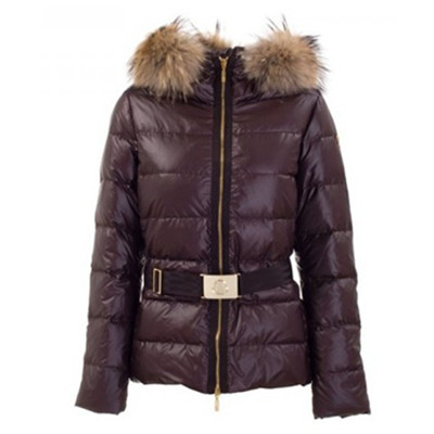 DG2275 Womens Moncler Angers Fur Hood Quilted Jacket Brown [dadc]