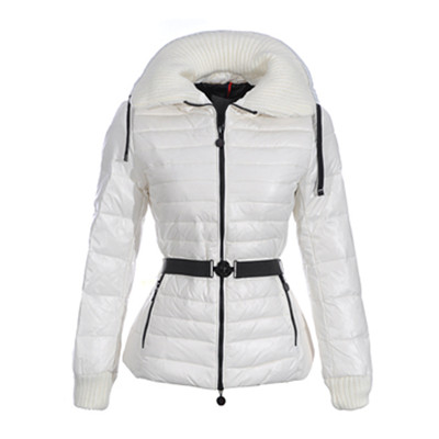 DG4235 Womens Moncler Belted Puffer Jas Met Knit White [34d6]