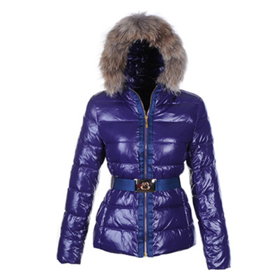 DG8844 Womens Moncler Angers Fur Hood Quilted Jacket Dark Blue [470d]