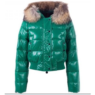 Womens Moncler Alpes Gewatteerde Fur Hood donsjacks Emerald Green DG7185 [174a]